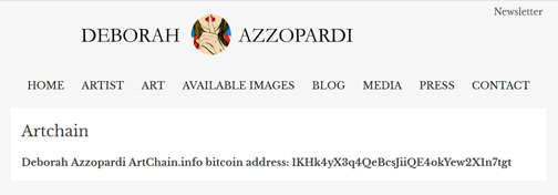 Artist/Gallery website page showing ArtChain.info bitcoin address